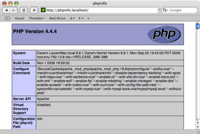 phpinfo() running on localhost